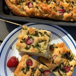 Cheddar, Chive, and Strawberry Focaccia